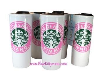 Starbucks Wedding, Starbucks Ceramic Mug, Personalized Starbucks, Wedding Party, Bridesmaid Gift, Maid Of Honor Gift, Bridal Shower Gift,