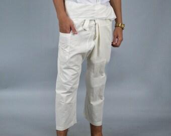Thai Fisherman Pants / Thai Pants / Harem pants / Yoga pants / กางเกงเล - Light, thin cotton or linen, Boho chic bohemian