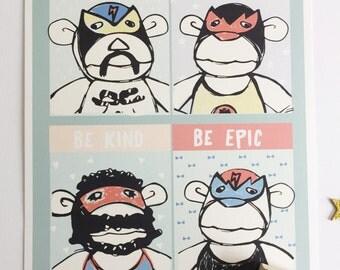 Monkey Wrestler art prints. Nursery Wall art. Nursery Decorating Ideas. Baby Shower Gifts.