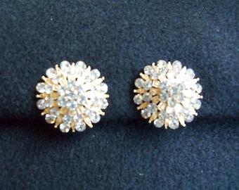 Rhinestone Earrings - Rhinestone Clip on Earrings - Large Rhinestone Earrings