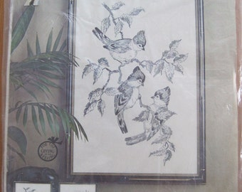 """Embroidery KIT, """"Tufted Titmice"""", Paragon Needle Craft, Etching in Filo, Design by Adele Veres,  #0447, Fits Frame 12"""" x 18"""", 1976, Vintage"""