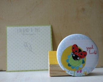 Good luck Ladybug and flower illustrated magnet