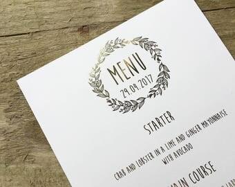 Rustic wedding gold foil menus- wedding menus, gold foil