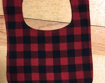 Red and Black Buffalo Plaid Flannel Bib with Snap Fastener