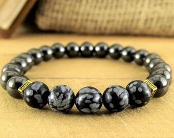 Gift For Men Bracelet Mens Beaded Bracelet Mens Gift Hematite Bracelet Mens Jewelry Black Jewelry Him bracelet Mens stretch braselets black