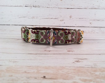MADE TO ORDER- Picasso Paisley Dog Collar, Choose width- Buckle or Martingale- add Embroidery and/or Leash