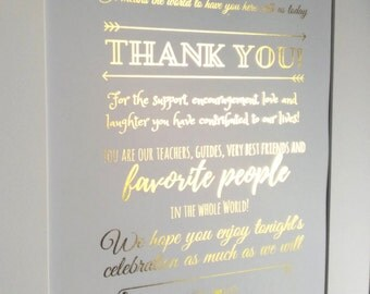 Thank you wedding welcome sign gold, gold foil wedding welcome signs, thank you welcome to our wedding sign