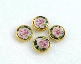 Vintage Porcelain Button Covers With Rose Design - Set Of 4 Hand-Painted Button Covers - Shabby Chic Button Covers - Rose Lover Gift - 1980s