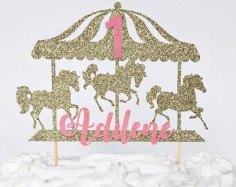 Carousel Cake Topper / Custom Cake Topper / Custom Name / Personalized Cake Topper / First Birthday / Little Girl Birthday Party Decor