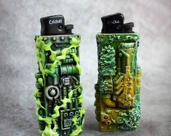 Apocalyptic alien cyberpunk cases for Cricket lighter. Alien style, industrial, techno, dieselpunk. Mold and acid.