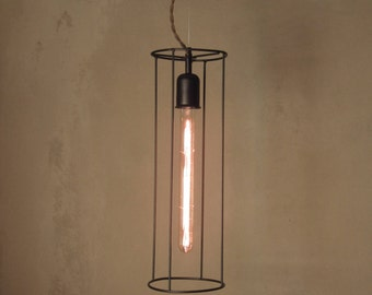 Minimal Elongated Cylindrical Cage Pendant Industrial Hanging Light