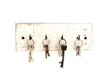 Shabby Chic Key Holder - key hanger key hook rack key rack key hooks wood wall hooks wall decor rustic wall hooks farmhouse white distressed