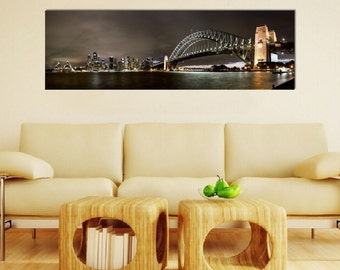 Canvas, Sydney Harbour Bridge & Opera House Skyline from Kirribilli, 2017 - Panoramic Print - Panorama Photo