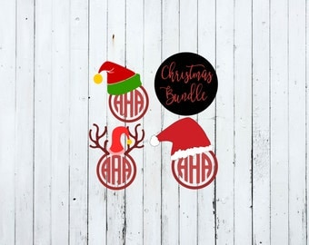 Svg christmas monogram, svg christmas designs, svg christmas files, christmas svg, christmas hat svg, elf hat svg, monogram svg, cut files