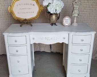 Vintage Chic, Vanity table/ Desk, shabby Chic, Cottage, Hand-painted, White