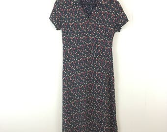Vintage '90's Grunge Floral Paisley Short Sleeve Maxi Dress