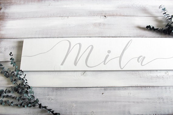 Baby name sign baby name wall art personalized nursery baby like this item negle Images