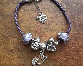 Women Bracelet, European Beads Bracelet, Christmas Jewelry, Beaded Bracelet, Women Gift Ideas, Women Leather Bracelet, Charm Bracelet