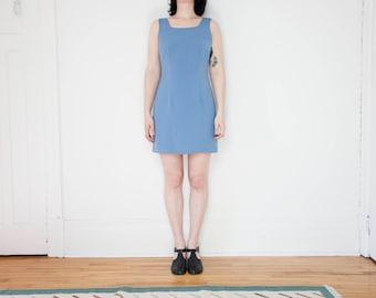 90s Blue Pinstripe Shift Dress / Size 8 / M