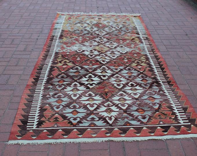 "CHRISTMAS SALE %7 Vintage Turkish Kilim Rug, 59.6"" x 100.8"" / 149 x 321 cm, Floor Rug, Boho Rug, Pastel Kilim Rug, Tribal Rug"