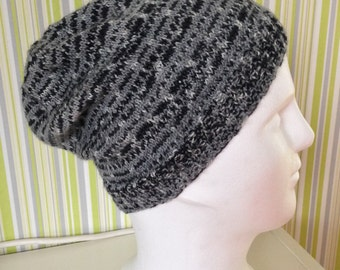 CAP, beanie, wool hat, unisex, ladies, gentlemen, hand knitted, gray-black, hand has, knitted,