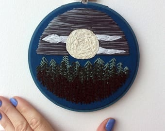 "Nighttime Forest {5"" Embroidered Hoop} // embroidery hoop, embroidery art, hand embroidered"
