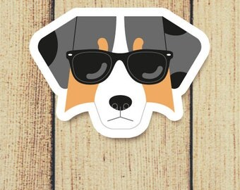 Australian Shepherd Dog in Sunglasses Vinyl Decal
