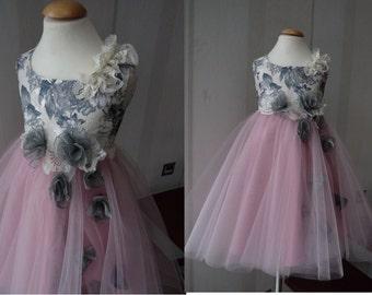 ROSA Dusty Rose  Graphite Tulle Flower Girl Dress Vintage Dress Wedding Bridesmaid Dress