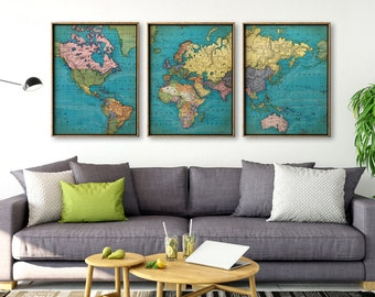 World map print in aged brownish tones old world chart world map print set of 3 wall triptych room decor world map gumiabroncs Gallery