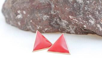 80's enamel vintage earrings | red triangle earrings | retro earrings | 9vintage earrings | red and gold neon jewelry