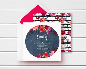 Square 30th Invite, Womens Red Invite, Red 30th Invite, Hot Pink 30th Invitation, Pink 21st Invites, Pink 18th Invites, Printable Invitation