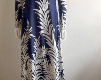 1960s Dress / Maxi / Palm Print / Cut Out / L