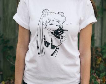SALE*** Anime shirt Sailor Moon shirt Usagi Luna anime tee kawaii otaku cosplay tumblr manga print anime gift for her