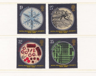1989 Microscopy Mint Unused Postage Stamps; science, geekery, microscopes, biology, snowflake, blood cells, close up, vintage, MNH, 1980s