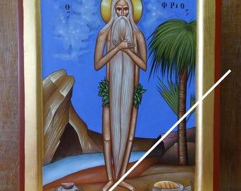 Saint Onuphrius, orthodox byzantine original icon, ο Άγιος Ονούφριος, hand painted on request, βυζαντινή εικόνα, Святой Онуфрий