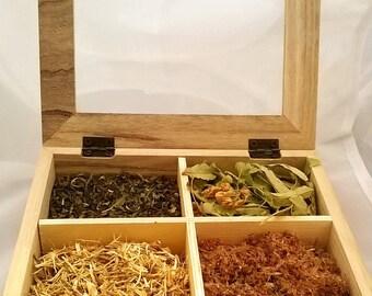 Wiccan Herbs for Tea Lovers In Wooden Box, Magical Herbs Pack, Witch Herbs Set of Loose Leaf Tea, Tea Lover Organic Herbal Gift,  Herbal Tea
