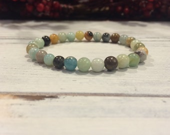 6mm Multicoloured Amazonite Bracelet, Small Bead Stacking Bracelet, Wrist Mala For  Courage, Compassion, Truth, Calming, Communication