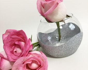 Mothers Day Gift, Wedding Vases, Wedding Table Decor, Silver Vase, Silver Home Decor, Glitter Vase, Housewarming Gift, Votive Candle Holder