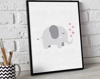 Nursery wall print - Elephant print - nursery prints - Baby girl prints - animal print - elephant nursery decor - cute elephant - heart prin