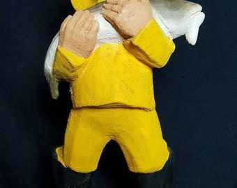 Henning Hand Carved Norwegian Wooden Figure Fisherboy with Big Catch 1986