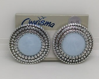 Silver and Blue Earrings, Vintage Post Earrings, Round Earrings, Retro Earrings, 1980s Earrings, Frosted Light Blue Post Earrings, Vintage