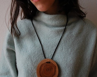 Cherry wood Medallion necklace. recycled, eco-friendly, pendant, jewellery, simple nature, female, male gift for her