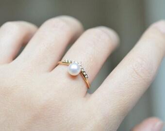 Pearl Engagement Ring Akoya Pearl Ring Pearl Wedding Ring 18K Gold Pearl Engagement Ring 14K Rose Gold Pearl Ring Diamond Pearl Ring