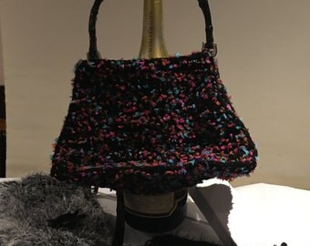 Crochet bags, black, white black, black stained, Black Brown