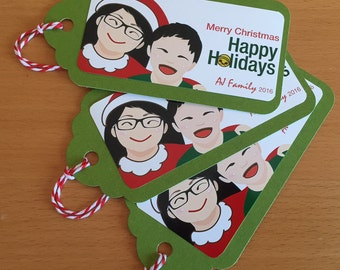 Custom Portrait Christmas Gift Tag