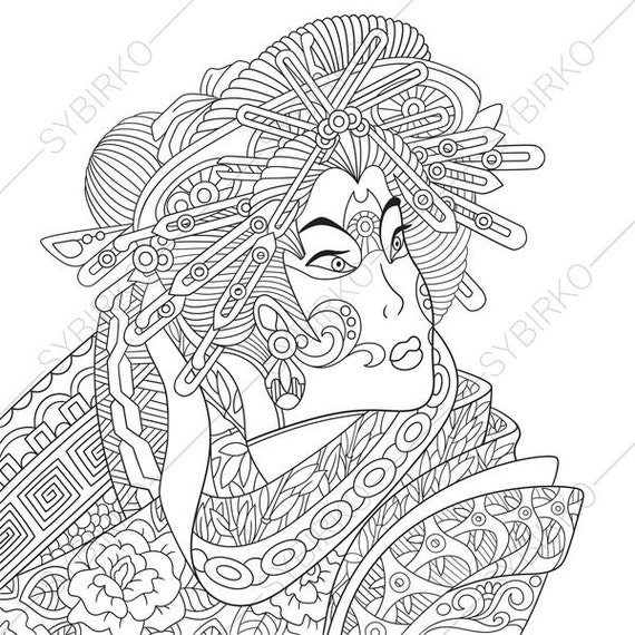 Adult Coloring Pages Japanese Geisha Zentangle Doodle