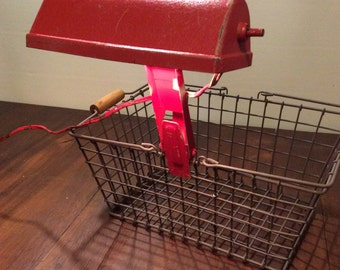 Vintage Red Metal Bandstand Clip Lamp