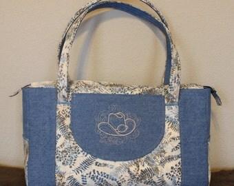 Denim Travel Tote, gym bag, western theme embroidery, large outside pocket & multiple inside pocket tote