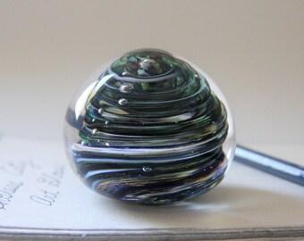 Hand Blown Glass Paperweight - Blue Twist