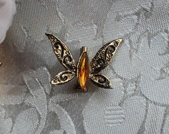 Gold Tone Amber Rhinestone Butterfly Brooch Pin